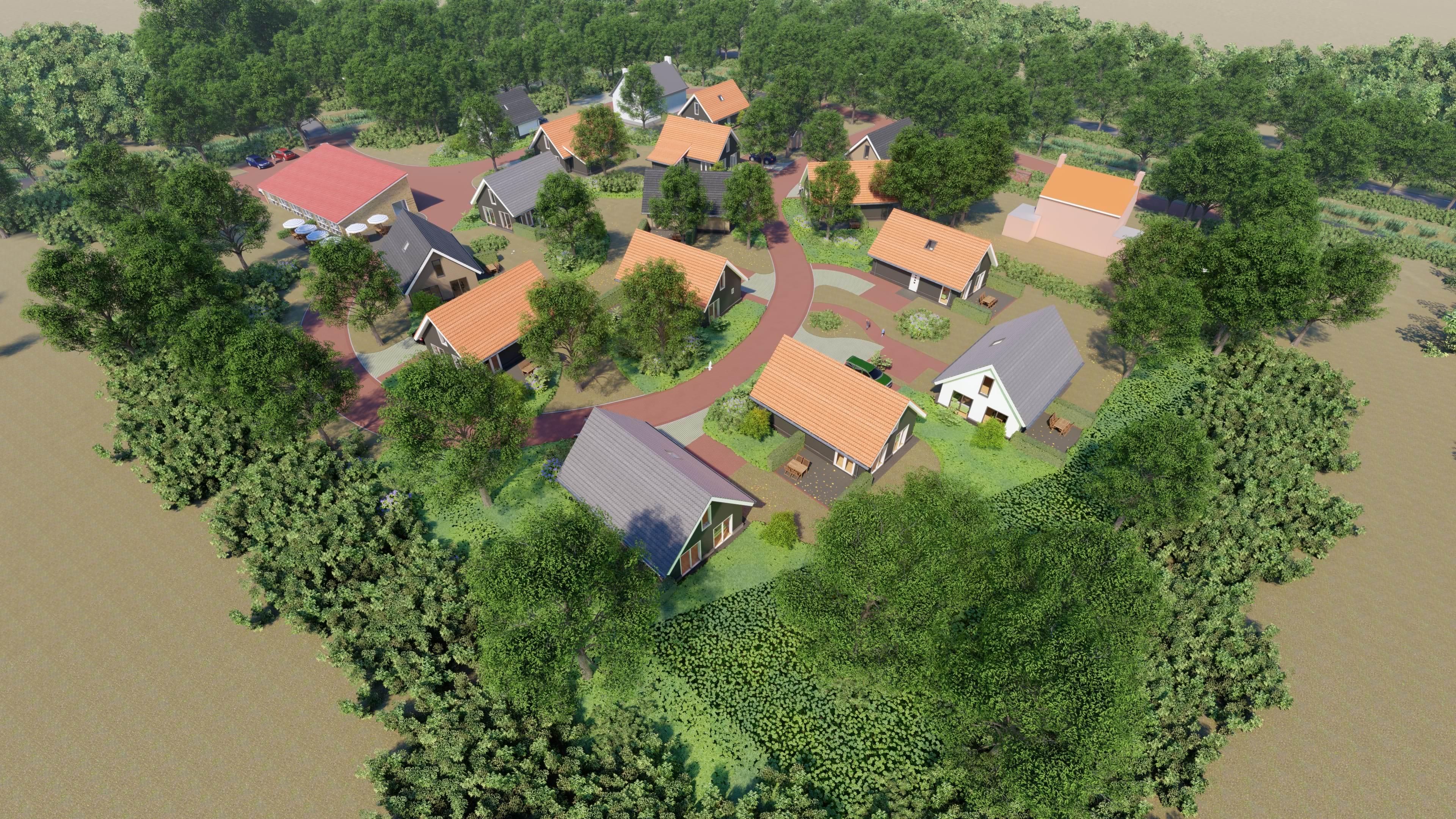 Villapark Ehzerburg in Almen - overzicht park, gelegen midden in de Achterhoek